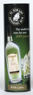El Dorado Rum 3YO 40% 70cl+glass
