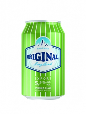 (24 kpl) Hartwall Original Long Drink Vodka Lime 5,5% 33cl